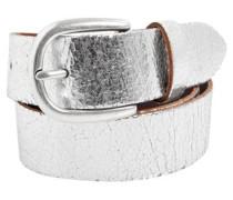 Ledergürtel im Metallic-Look silber