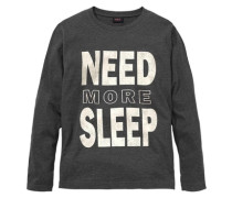"Langarmshirt ""need More Sleep"" schwarzmeliert"