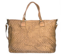 Borchie Con Fiore Shopper Tasche Leder 43 cm beige