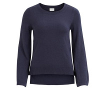 Gestrickter Woll Pullover nachtblau