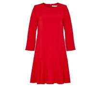 Crêpe-Kleid mit schwingendem Saumvolant rot