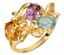 Fingerring blau / gelb / gold / lila