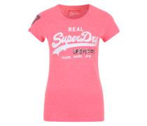 Printshirt mit Pailletten pink