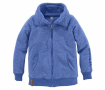 Fleecejacke Melange-Optik blau