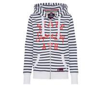 Sweatshirtjacke navy / weiß
