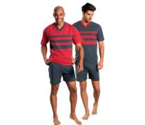 Pyjamas kurz (2 Stck.) dunkelgrau / rot