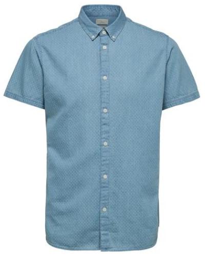 Regular Fit-Kurzarmhemd hellblau / weiß