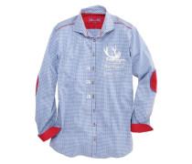 Trachtenhemd mit trendiger Stickerei blau / weiß