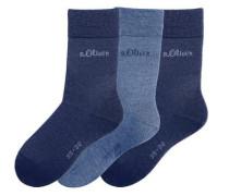 Damensocken (3 Paar) blau / rauchblau / enzian