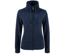 Fleece-Jacke mit großem Kragen blau