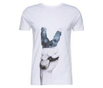 T-Shirt 'Print tee Craig S/s' blau / grau / weiß