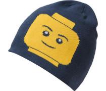 Wendestrickmütze Ayan für Jungen blau / gelb / grau / naturweiß