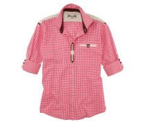 Trachtenhemd mit Stickerei rot / weiß