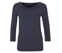 Gemustertes Jerseyshirt mit 3/4-Arm blau