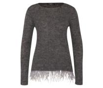 Pullover mit abnehmbarer Federbordüre grau