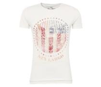 T-Shirt 'MT Dusk round' pastellrot / offwhite