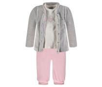 Jacke + T-Shirt + Jogginghose Mädchen Baby beige / grau / pink