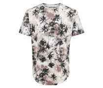 Bedrucktes T-Shirt dunkelbraun / grau / altrosa