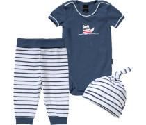 Baby Set Body+ Hose+ Mütze navy / weiß