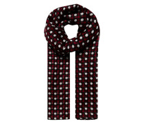 Halstuch mit grafischem Blumenprint rot / schwarz