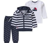 Baby Set Sweatjacke mit Langarmshirt und Sweathose für Jungen dunkelblau / weiß
