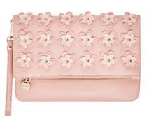 Falt-Clutch mit 3D-Blüten rosa