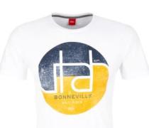 T-Shirt mit Print und Wording nachtblau / gelb / weiß