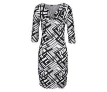 Jerseykleid mit geometrischem Muster schwarz / weiß