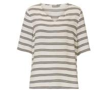 Bluse mit Streifen basaltgrau / naturweiß