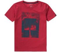 T-Shirt 'heather' für Jungen rot / schwarz
