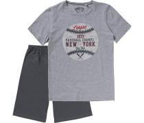 Schlafanzug für Jungen dunkelgrau / graumeliert