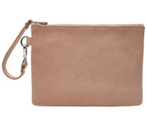 Veloursleder-Clutch pink