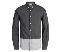Strukturiertes Langarmhemd schwarz