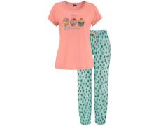 Süßer Cupcake Pyjama softer Single Jersey Hose mit Allover-Muster Shirt mit Frontprint blau / orange