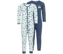 Schlafanzug nit 2er-Pack Reißverschluss- blau