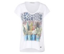 T-Shirt mit Print mischfarben / weiß