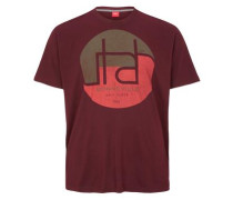 T-Shirt mit rundem Print khaki / merlot