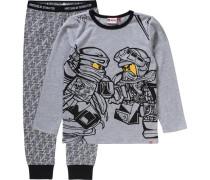 Schlafanzug 'ninjago' für Jungen gelb / graumeliert / schwarz