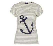 T-Shirt 'yc. Striped Anchor' grau / mischfarben