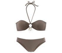Bandeau-Bikini dunkelbeige / schlammfarben