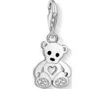 Charm-Einhänger 'Teddybär 1119-041-14' schwarz / silber / weiß