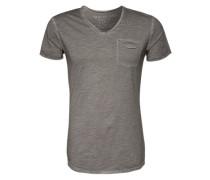 T-Shirt mit V-Ausschnitt silber