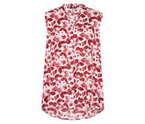 Shirt mit floralem Print dunkelrot / weiß