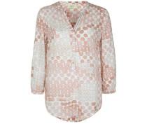 Bluse mit Knopf-Details beige / rosé / weiß