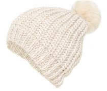 Mütze mit Pompon aus Fake-Fur beige
