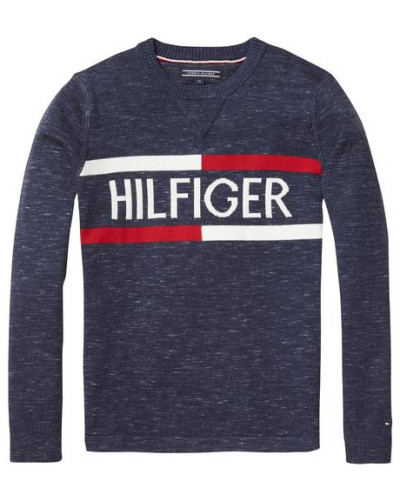 Pullover 'ame Hilfiger CN Sweater L/s' navy / rot / weiß
