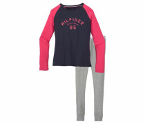 Mädchen Pyjama lang 'Logo' navy / graumeliert / pink