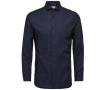 Formelles Slim Fit -Langarmhemd nachtblau