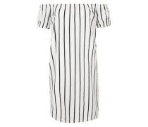 Offshoulder-Kleid mit Streifen schwarz / weiß