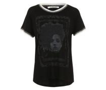 Printshirt mit Glitzersteinen schwarz